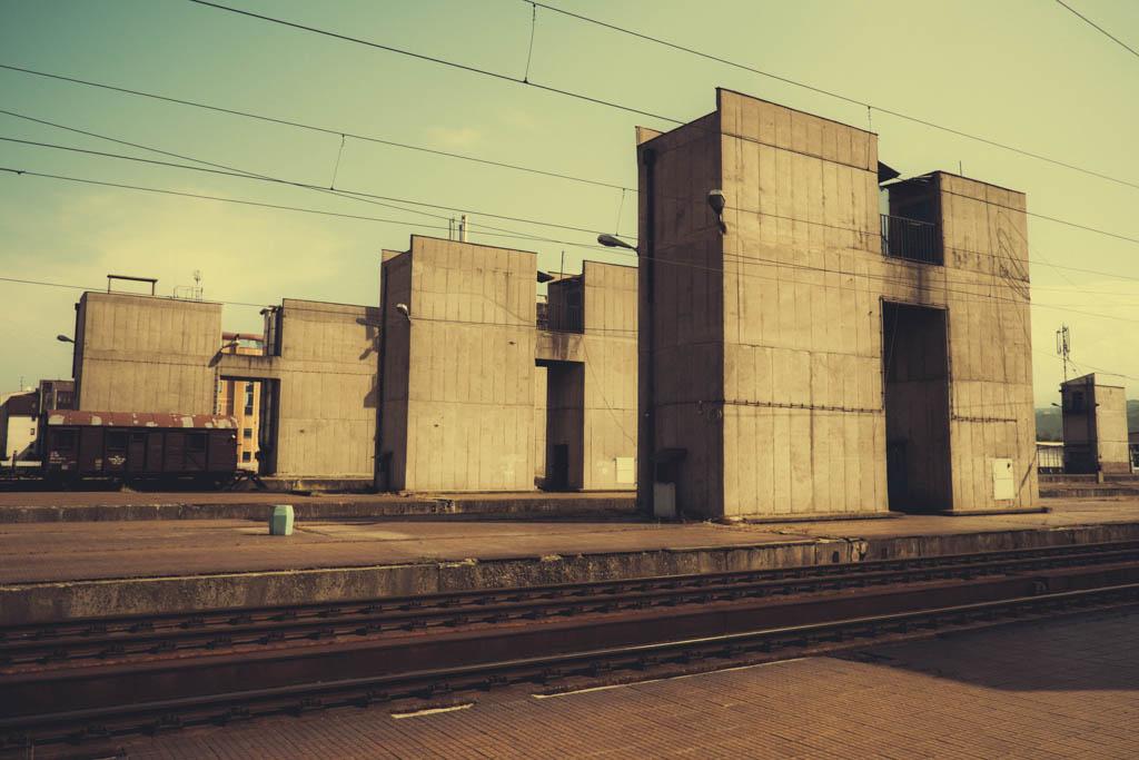 CENTRAL TRAIN STATION PLATFORM IN SKOPJE, MACEDONIA.